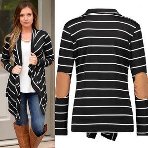 Langarm-Cardigan Donna Mäntel Mode Unregelmäßige Womans Designer Mäntel Kontrast-Farben-Patchwork-Revers-Neck Coats Lässige