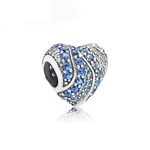 3 Color Rhinestone Heart Alloy Charm Bead Fashion Jewelry Stunning European Style For DIY Bracelet Bangle