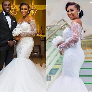 2020 nova sexy sereia vestidos de noiva fora do ombro ilusão rendas miçangas mangas compridas abertas para trás tribunal treinar africano menina negra vestidos de noiva