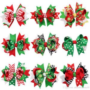 Kinder Haarschmuck Weihnachten Spangen Dot Streifen Schneeflocke Hairpin Baby-Süßigkeit-Farben-Bogen Bowknot Weihnachten BobbyPin Stirnband Geschenk