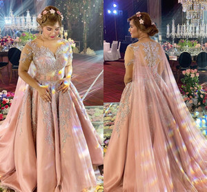 2020 más el tamaño de vestidos de novia de encaje con cuentas árabe Aso Ebi Blush Pink Sheer cuello nupcial de los vestidos de la vendimia vestidos de boda atractivo