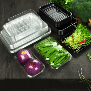 Black Transparent Fresh Tray Supermarket Plastic Packaging Box Disposable Vegetables Fruits Meat Fresh-keeping Box Food Packaging Tray