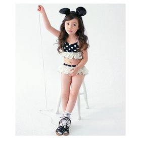 shopify Korea Style Children Girl 4pcs polk dot swimsuit sunscreen cute princess bathing suit Kids Baby Beach cloth