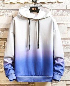 Designer Men O Neck Hoodies Spring Mens Hooded Sweatshirts Sports Pullover Slim Gradient Color Male Tops