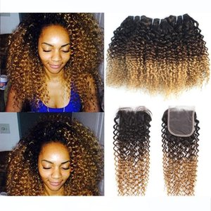 Brazilian Kinky Curly Ombre human Hair 3 Bundles with 4*4 Lace Closure 3 Tone 1B 4 27# Blonde Ombre Curly Virgin Hair Weaves