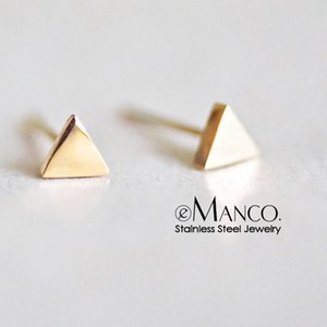 Wholesale Small Triangle Stainless Steel Earrings for women Career style Minimalist Geometric Earring Studs Jewellery YE14812