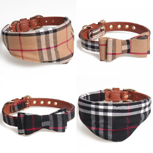 Moda Plaid Classic pet collari regolabile High-end Pet Dog Gatti guinzaglio all'aperto carino cane da compagnia Bowknot accessori del collare cadere JJ39 all'ingrosso