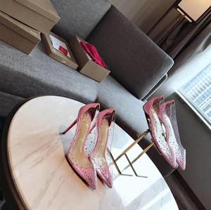 Rotunterseiten rot gz Schuhe der Frauen 19SS Socken Donna Nieten High Heels Designer Sohlen Luxus Shirt rosa Kristalle hohe Absätze flachen pointedec71 #