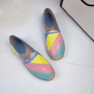 2020 diseñadores de lujo alpargatas mujeres plataforma de primavera y verano con el hardware del holgazán genuina niñas enfermos Suela de cuero con la caja EUR34-42
