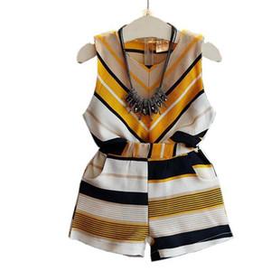 New Summer Girls Abbigliamento Abbigliamento Set Bambino Bambino Bambini Ragazza Vestiti a strisce Blouse senza maniche Top + Pantaloni corti 2pcs Suit JW1809 Q190523