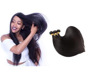 Viya 9A Silky Straight 3 Bundles Machine 더블 웨씨 짜기 인간의 머리카락 확장 처리되지 않은 인도 머리카락 부드럽게 퍼지고 색칠 수 있습니다
