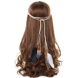 Haimeikang بوهو الهندي الريشة عقال غطاء الرأس الشعر حبل أغطية الرأس القبلية الهبي حزب جديد اكسسوارات للشعر