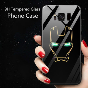 Tempered Glass Phone Case for iPhone 6 6s 7 8 Plus X Plating Luminous Light Luxury Glass Case For Sumsung s9 Plus S10 plus