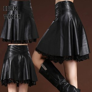 Leather Skirt Female A Word Plus Size Above Knee High Waist Pleated Autumn Winter Super Fire Skirt ZO944 Y200704