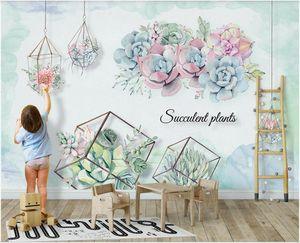 WDBH 3d wallpaper custom photo modern Nordic ins three-dimensional succulent background wall wallpaper for walls 3 d