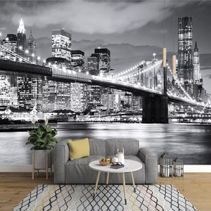 8d wallpaper modern minimalist fashion black and white wallpaper New York bridge city night scene large mural home background wall