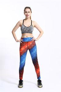 Women High Waist Gradient Print Leggings Summer Designer Sport Quck Drying Pants Females Skinny Slim Athletic Clothing