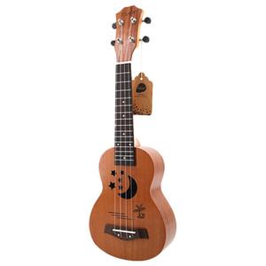 Sopran-Ukulele 21 Zoll Sapele Sternchen-Ukulele 4 Nylonsaiten Hawaii Mini Gitarre Uke Griffbrett Palisander Ukelele Musik