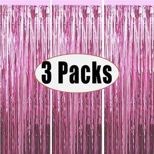 3 Packs 3.2ft х 6.6ft Silver Foil Шторы фоны Metallic Мишура Backdrop Шторы Дверная Fringe Шторы для свадьбы День рождения светло-розовый