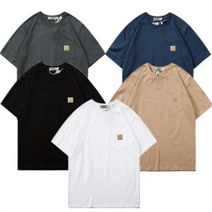 Mode CARH Lettre T-shirt à manches courtes artt O-cou T-shirt des hommes d'été T-shirts de coton Hauts de poche T-shirts Teenager Designer T-shirts M-2XL