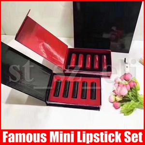 الشهيرة الشفاه ماكياج مجموعة محفظة 5pcs ماتي طويل الأمد صغيرة الحجم أحمر الشفاه صندوق شفة العصا كيت أسود أحمر 2 اساليب