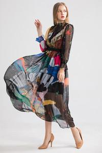 2020 Pista Desinger verano de las mujeres vestidos de cuello de O de manga larga Impreso diseñador de moda de vestidos casuales otoño