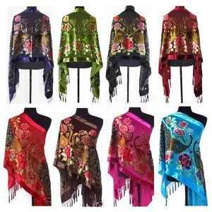 2019 Yeni Moda Lady Kadınlar Hayvan Peacock El Yapımı Boncuklu Kadife Ipek Püsküller Dikdörtgen Işlemeli Şal Wrap 50 cm * 170 cm