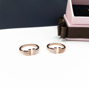 European And American Fashion Temperament Women's Double T Letter Ring Gold Color Inlaid Zircon Open Ring Couple Ring Jewelry