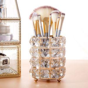 European Style Metal Crystal Makeup Brush Organizer Eyebrow Pencil Comb Jewelry Pearl Cosmetic Storage Box
