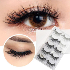 5 pares de pestañas falsas 3D visón de pelo natural cruzada largo sucia del maquillaje falso pestañas de extensión fabricar herramientas arriba de la belleza