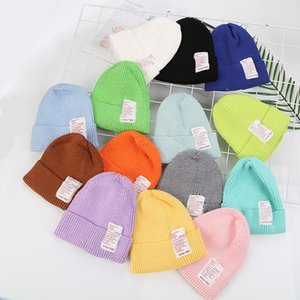 Fashion Children Winter Plain Knitted Hat Warm Boy Girl Solid Color Candy Color Pointed Hat Knitted Baby Children's Wool Hat