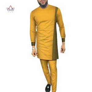 Bazin 부자 남성 2 조각 바지 세트 아프리카 디자인 의류 아프리카 의류 캐주얼 남성 긴 탑 셔츠와 바지 WYN684을 설정합니다