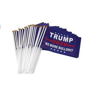 Trump 2020 el işareti Bayrak Amerikan Oy Seçim Mini Bayraklar Su geçirmez kağıt El Dalgalanan Bayrak Başkanı Donald Banner Bahçe Bayraklar E3307