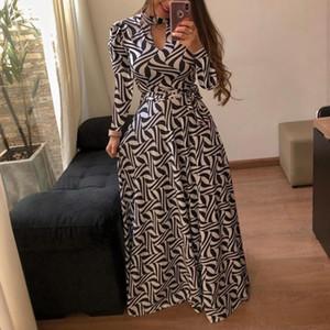 Nouvelle Arrivée Femmes Robes À Manches Longues De Mode Automne Hiver Femmes Designer Robes Imprimées Casual Streetwear De Luxe Vêtements Taille S-5XL