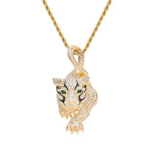 Леопард кулон ожерелье позолоченные нержавеющей стали инкрустированные Кристалл леопарда кулон 60 см цепи мужские аксессуары хип-хоп ювелирные изделия