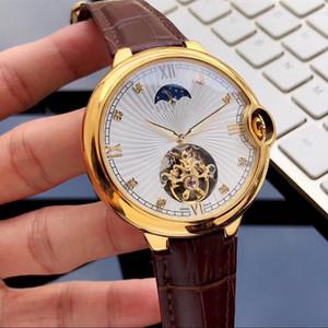 سوبر 107 المرحلة حذافة حركة أوتوماتيكي ساعات 316 غرامة حالة الفولاذ watchband جلد 47MM * 14MM مصمم الساعات 7427086