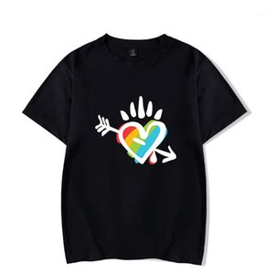 فضفاض عارضة تيز مصمم رجالي ملابس للسيدات LGBT مطبوعة بأكمام قصيرة تي شيرت أزياء الصيف جولة الرقبة