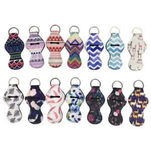 61 couleurs motif néoprène chapstick titulaire baume pour les lèvres clé chaîne manches manches empreintes de teinture rouge à lèvres couverture porte-clés porte-clés parti faveurs BH2124 CY
