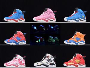 bambini 6S in pelle di serie del fumetto Mid Top bambini scarpe da basket 6s Return of Heroes Kitty bambini Athletic Shoes