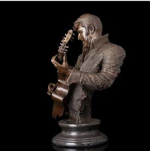 Famoso Rock Roll Star Hombre Musical Guitarra Busto Bronce Esculturas Elvis Aron Presley estatuilla Bar Decor Americ escultura decoración hecha a mano