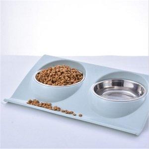 Doble uso para mascotas Bowl Food Food Plastic Plastic Acero inoxidable antideslizante Dog Bowl A prueba de salpicaduras A prueba de golpes para perros y gatos comedero