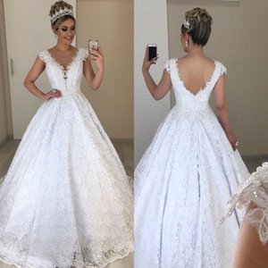 2020 Elegant Cap Sleeve Backless Bridal Gowns V Neck Lace Beads Long Ball Gown Weddding Dresses Plus Size robes de soiree