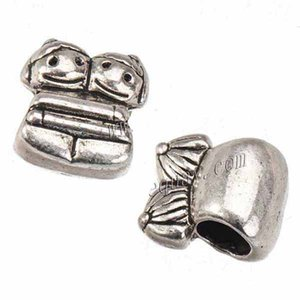 european jewellery beads for bracelets diy metal big hole antique silver girl boy hug lovers crafts jewelry accessories 11*10mm 100pcs