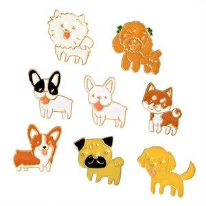 Filhote de Cachorro bonito Collar Lepal Pins Broche Esmalte Bijuterias para Crianças Dos Homens Das Mulheres