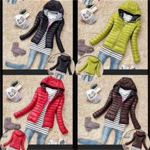 Manga comprida quentes de algodão acolchoados roupas Mulheres Zip com capuz Overcoat Outdoor Viagem Windproof Jacket New 28 5ck Ww