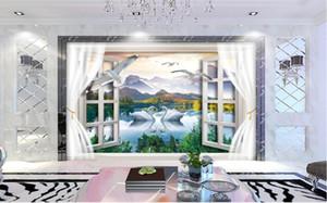 WDBH 3d duvar kağıdı özel fotoğraf Swan Lake Pencere Doğal Manzara tv arka plan ev dekor oturma odası 3d duvar kağıdı duvarlar için duvar kağıdı 3 d
