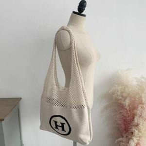 2020 di grande capienza a maglia borsa delle donne della Lettera scavato-out tessuto Mesh Knit femminili Borse una spalla