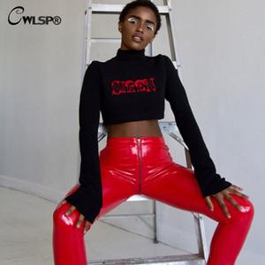 commercio all'ingrosso di cuoio-CWLSP autunno signora PU Pencil Pants Donna Solid posteriore Chiusura lampo dei jeans rosso pantaloni nuovo modo nero Femmina 2017 QL3503