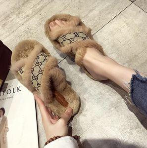 Vender bien la cinta del pelo de conejo mujeres zapatos New Cross pieles mullidas zapatillas casual de fondo plano sandalias zapatillas peludas peludo del calzado de calle