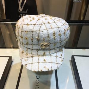 Los sombreros de las mujeres con la caja llana sólida octogonal Cap casual de las señoras de las lanas del sombrero casquillo de las mujeres del otoño del resorte de la boina